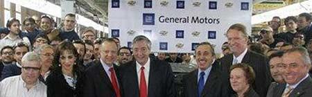 Kirchner, Wagoner y Obeid en la planta de GM. Foto: ON24