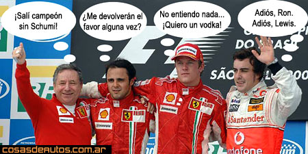 Podio del Gran Premio de Brasil 2007 - Foto original: DPPI