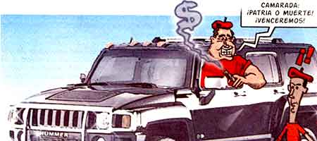 Caricatura de Chavez en un Hummer publicada en La Hojilla digital