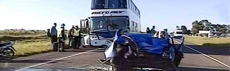 Accidente en la ruta 2 en Semana Santa 2008 - Imagen de TV