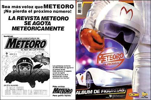 Aviso de Revista Meteoro de 1975 y Album de figuritas Meteoro de 2008