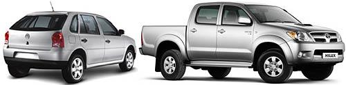 Volkswagen Gol y Toyota Hilux