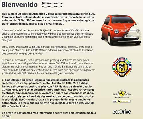 Precio Fiat 500 vía mailing