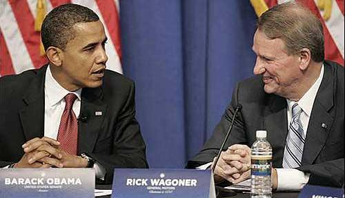 Barack Obama y Rick Wagoner