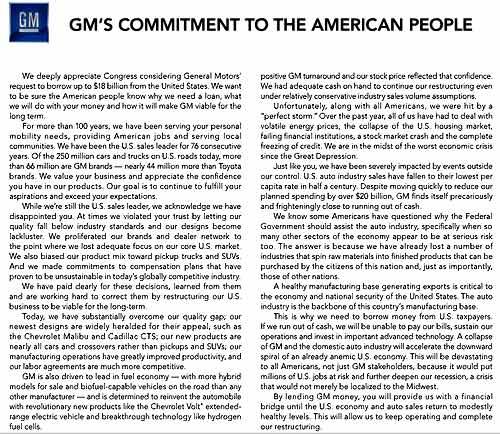 """""""Compromiso de GM con el pueblo Americano"""" publicado el lunes 8 de diciembre de 2008 en Automotuve News"""