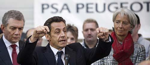 Nicolas Sarkozy en una reciente visita a PSA