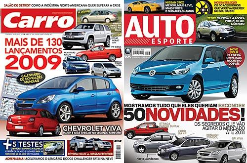 El Chevrolet Viva en las tapas de febrero de Carro y AutoEsporte.