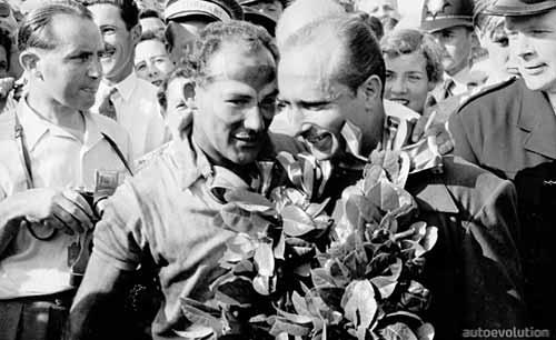 Stirling Moss y Juan Manuel Fangio