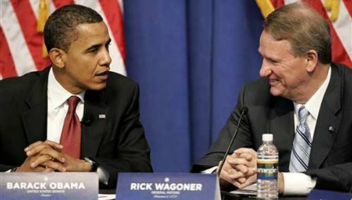 Barack Obama y Rick Wagoner en junio de 2008, en plena campaña presidencial.