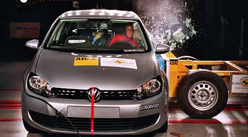 Volkswagen Golf VI en los ensayos de la Euro NCAP - Foto: Euro NCAP