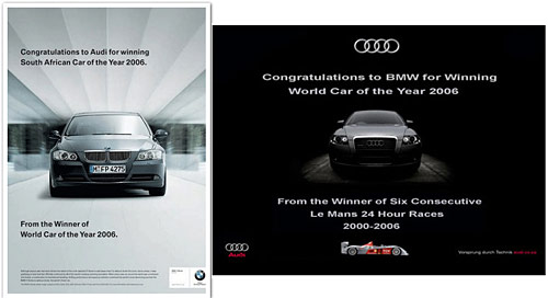 Duelo publicitario Audi-BMW de 2006.