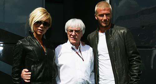 Bernie Ecclestone con David Beckham y Victoria Adams.