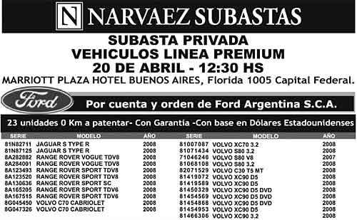Aviso de subasta de Ford Argentina.