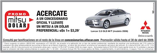 Promo Mitsubishi Lancer Pascuas