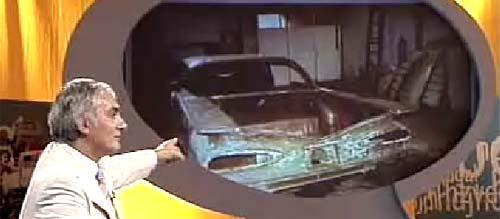 Montoya muestra cóm estaba el Impala antes de restaurarlo. - Captura de TV.
