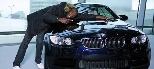 Usain Bolt en las oficinas de BMW en Munich.