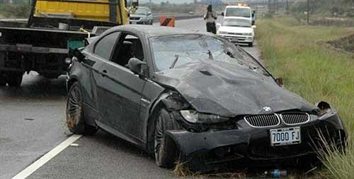 Así quedó el BMW de Usain Bolt.