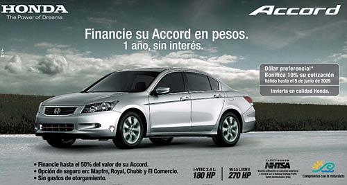 Honda Accord a precio promocional.