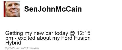 A través de su cuenta de Twitter, McCaine cuenta que está entusiasmado con su nuevo Ford Fusion Hybrid.