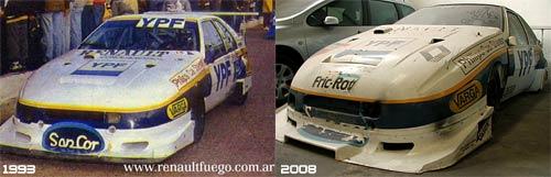 La Renault Fuego de Traverso en 1993 y en el estado que se encuentra actualmente. Foto: El Circuito Cerrado.