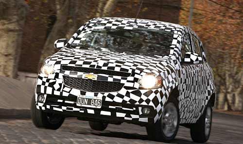 El Chevrolet Agile en las pruebas finales.