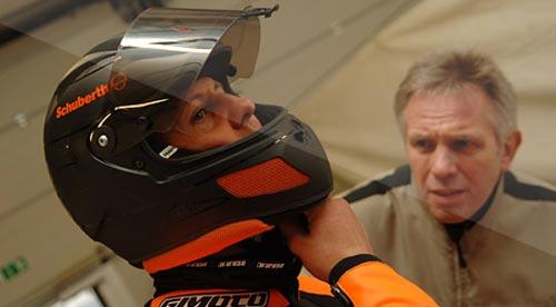 Schumi fue tester de cascos de Schuberth.
