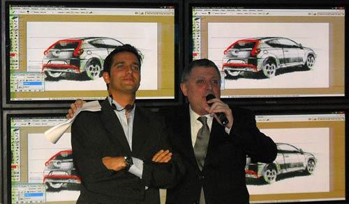 Manu Díaz y Gino Renni en la presentación del MiTo - Foto: Cosas de Autos.