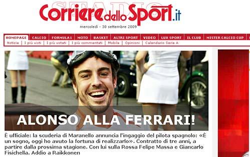 Tapa del Corriere dello Sport.