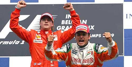 Raikkkonen y Fisichella en el podio de Spa.