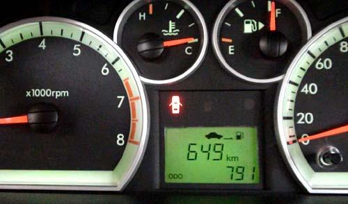 Imagen del display del Chevrolet Aveo con el corte efectuado.