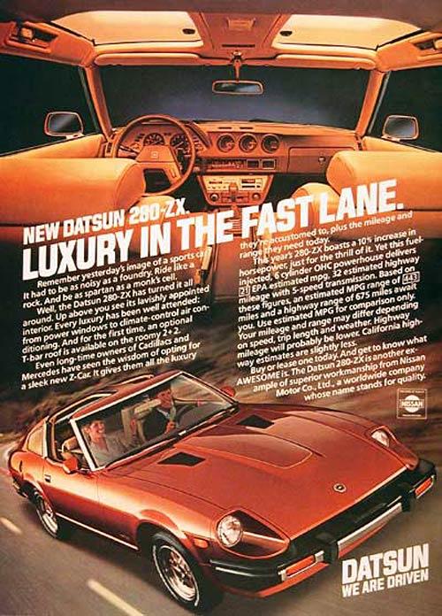 Publicidad de la época del Datsun 280 ZX