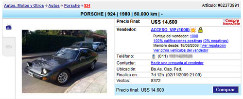 El aviso de venta dex Porsche 924 de Maradona