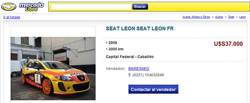 Aviso de Mercado Libre de venta de un Seat réplica del WTCC