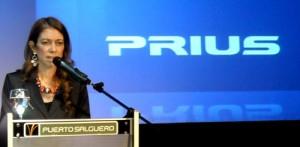 Giorgi en el lanzamiento del Toyota Prius
