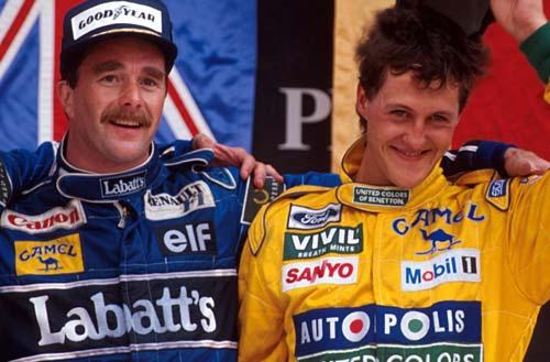 Mansell y Schumacher compartieron podio en la temporada 1994, uno en McLaren y el otro en Benetton.