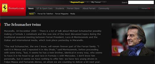 El comunicado de Luca Di Montezemolo en el sitio de Ferrari
