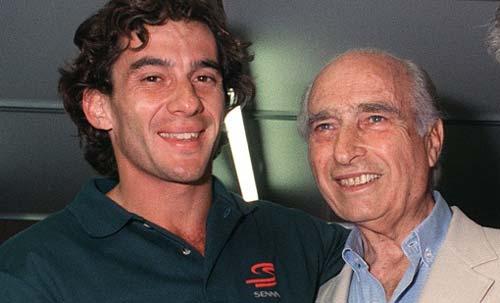 Ayrton Senna junto a Juan Manuel Fangio