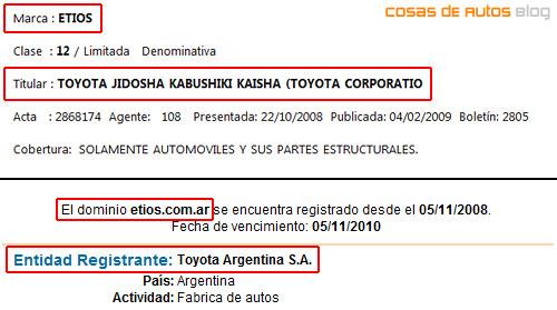 Registro de la marca Etios por parte de Toyota Argentina - Cosas de Autos