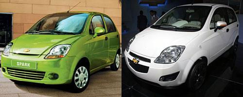 El Chevrolet Spark actual y el e-Spark juntos.