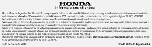 Honda llama a recall a los Honda Fit de primera generación.