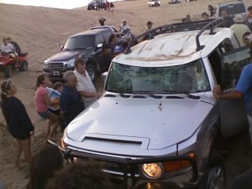 Así quedó la Toyota FJ Cruiser luego de volcar en los médanos de Pinamar - Foto: Bulones / Toyoteros.com.ar