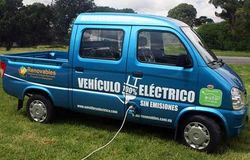 La camioneta FAW convertida a eléctrica que usó Mujica en su asunción.