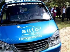 El vehículo eléctrico que Pepe Mujica utilizará para su acto de asunción de la presidencia.
