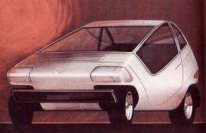 Bocetos del concept car Fiat X1/23 de 1972.