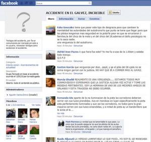 Grupo del accidente en el Gálvez en Facebook