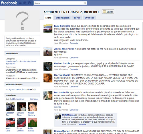 Grupo del accidente en el Gálvez en Facebook