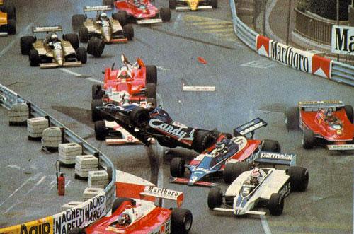 El accidente en el comienzo del GP de Mónaco de 1980.