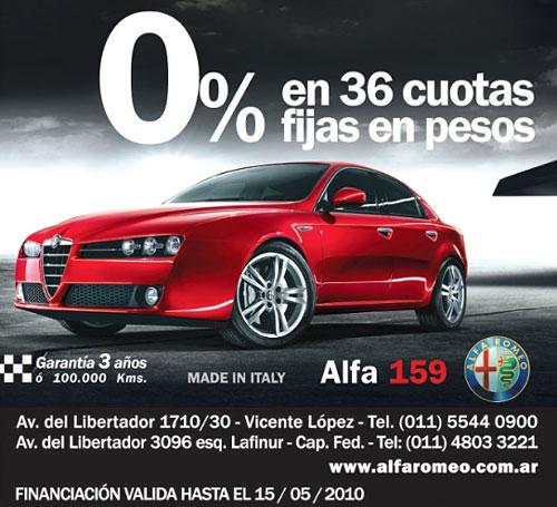 Promo Alfa Romeo 159 en pesos.