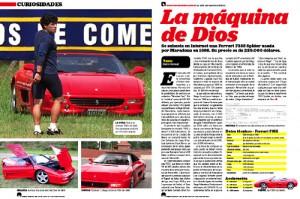La nota de la revista Corsa en la que se investigó la historia de la Ferrari de Maradona.