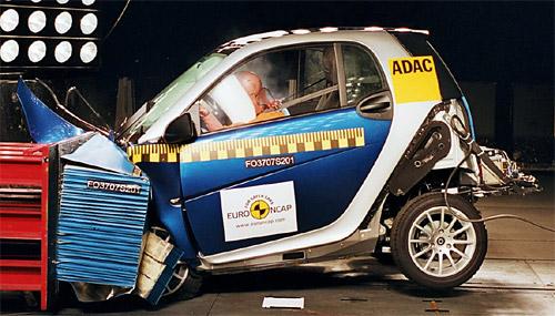 El smart obtuvo 4 estrellas en los test de choque de EuroNCAP.